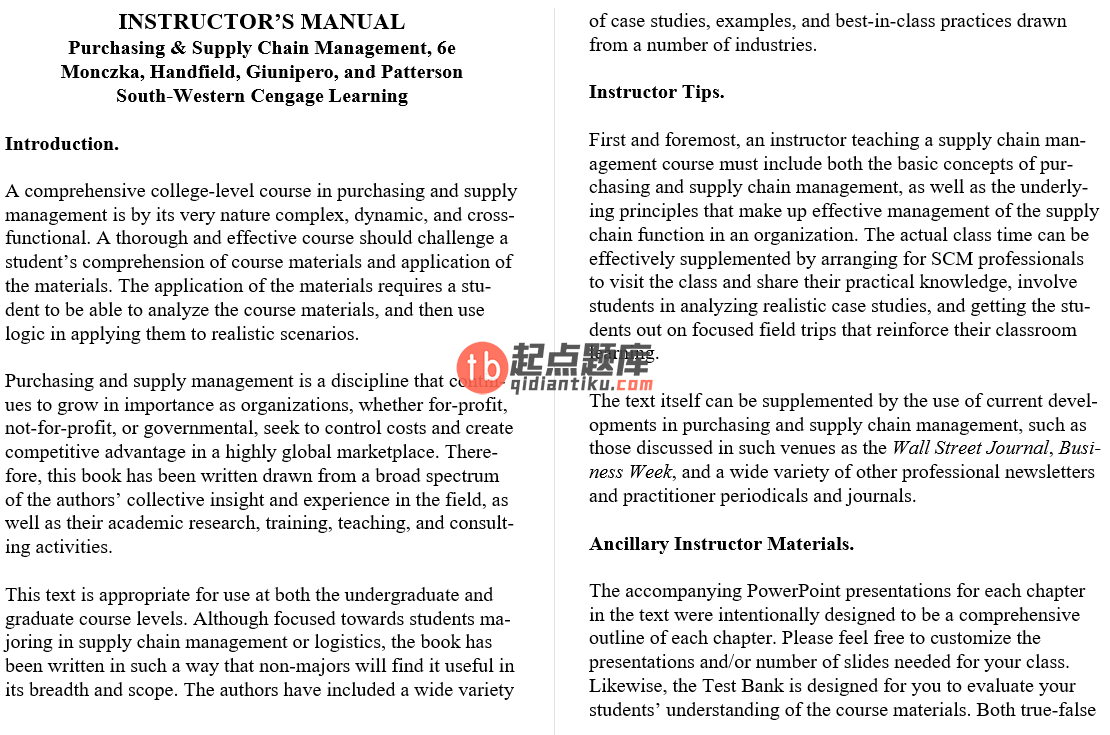 solution manual for Purchasing and Supply Chain Management 6th Edition的图片 3