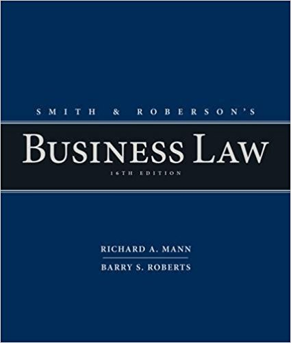 solution manual for Smith and Roberson's Business Law 16th Edition的图片 1