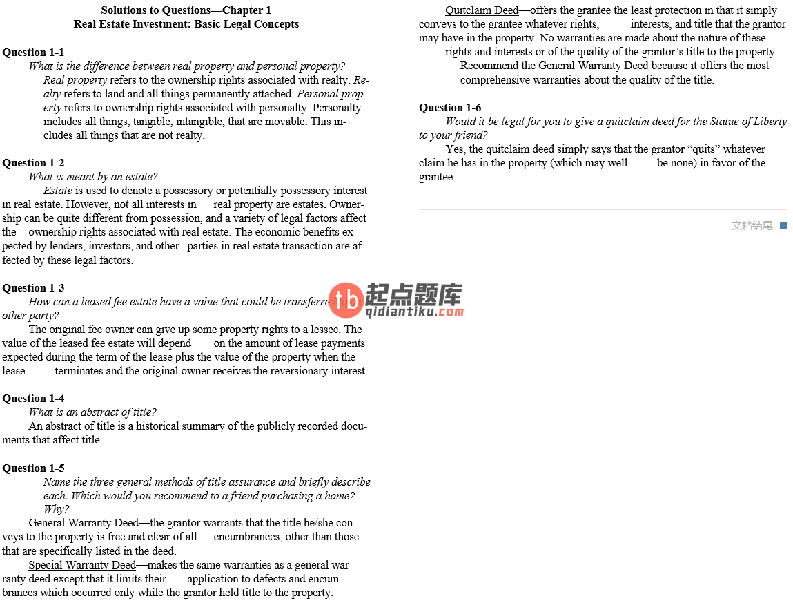 solution manual for Real Estate Finance & Investments 15th Edition的图片 3