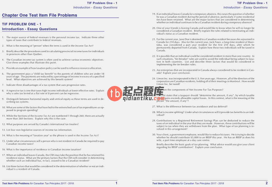 test bank for Canadian Tax Principles 2017-2018 Edition的图片 4