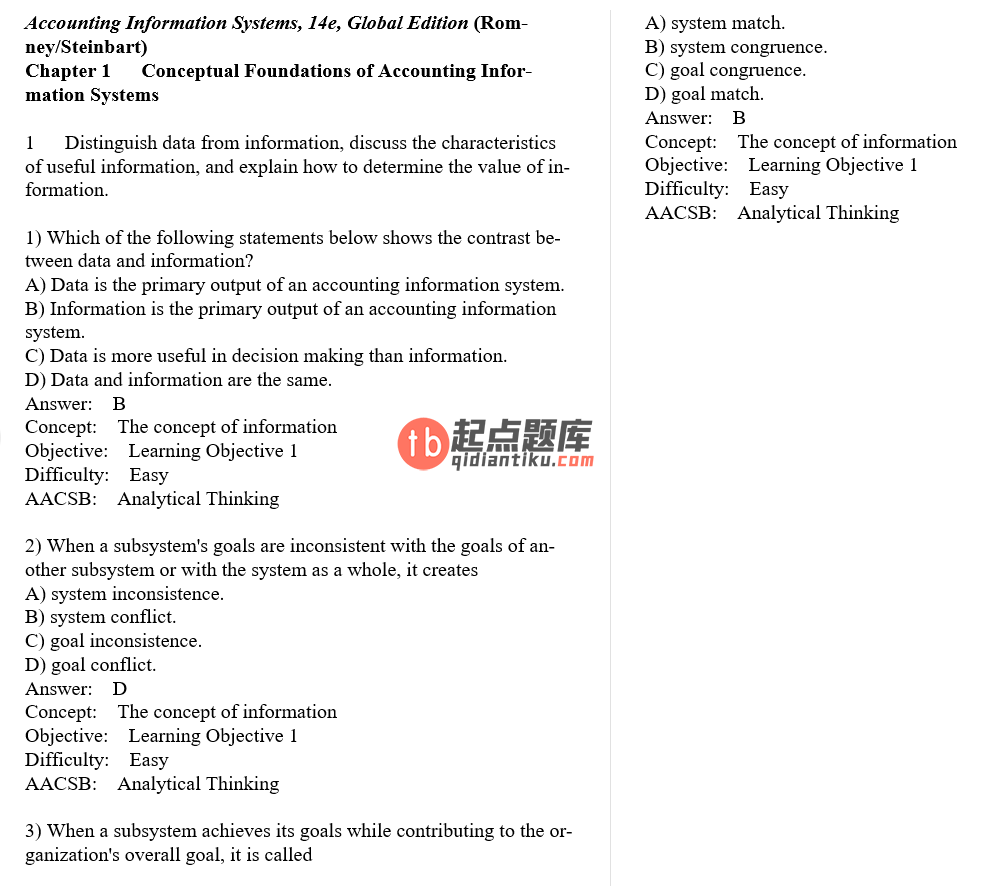 test bank for Accounting Information Systems 14th Global Edition的图片 3