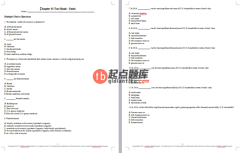 test bank for Investments 11th Edition的图片 3