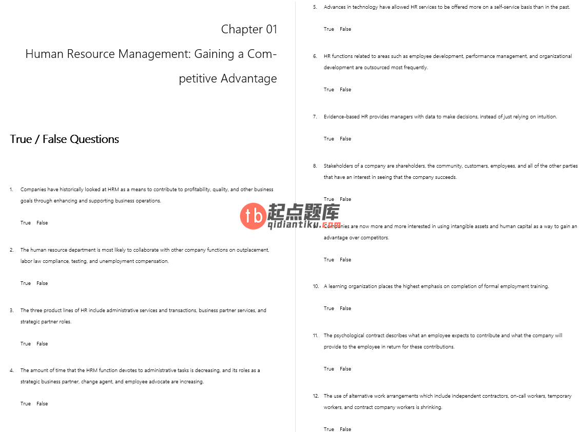 test bank for Human Resource Management: Gaining a Competitive Advantage 8th Edition的图片 3