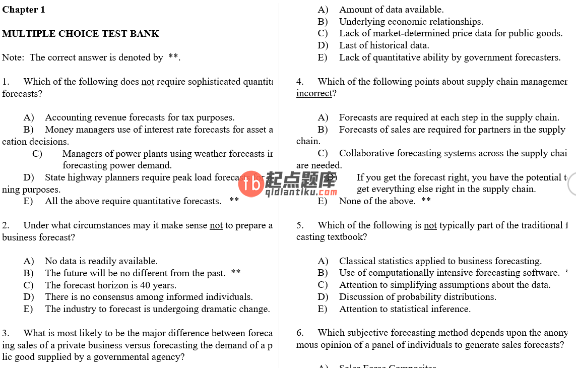 test bank for Business Forecasting with Business ForecastX 6th Edition的图片 3
