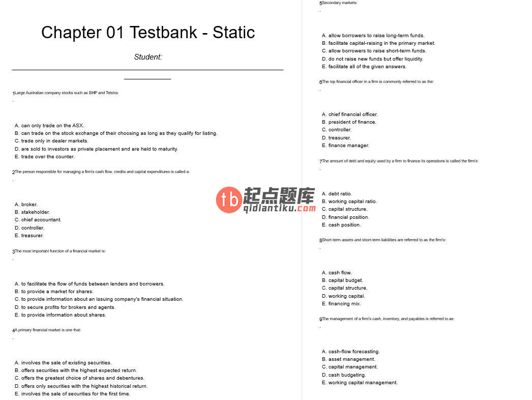 test bank for Essentials of Corporate Finance 3rd Australian edition的图片 3