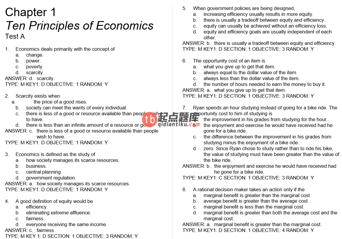 test bank for Principles of Economics 6th Edition的图片 3