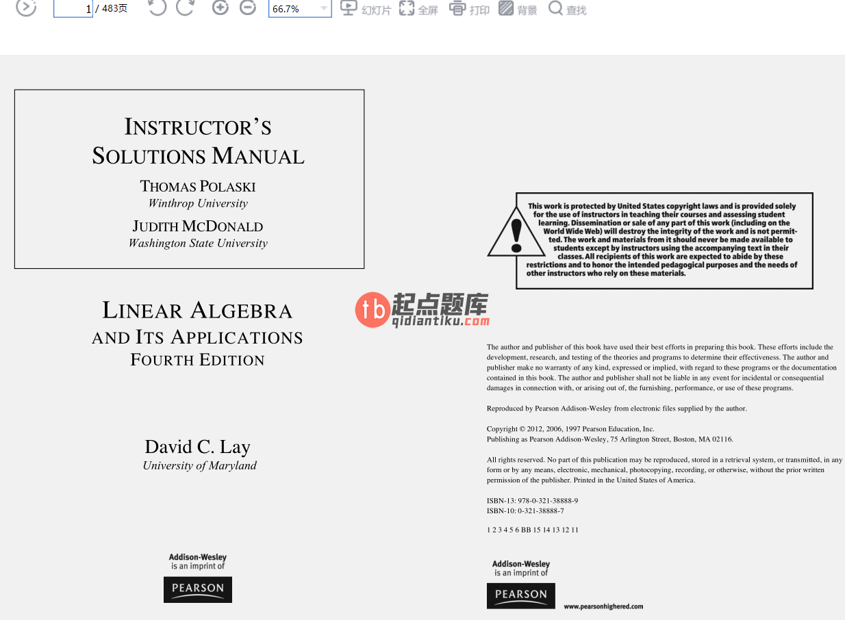 solution manual for Linear Algebra and Its Applications 4th Edition的图片 2