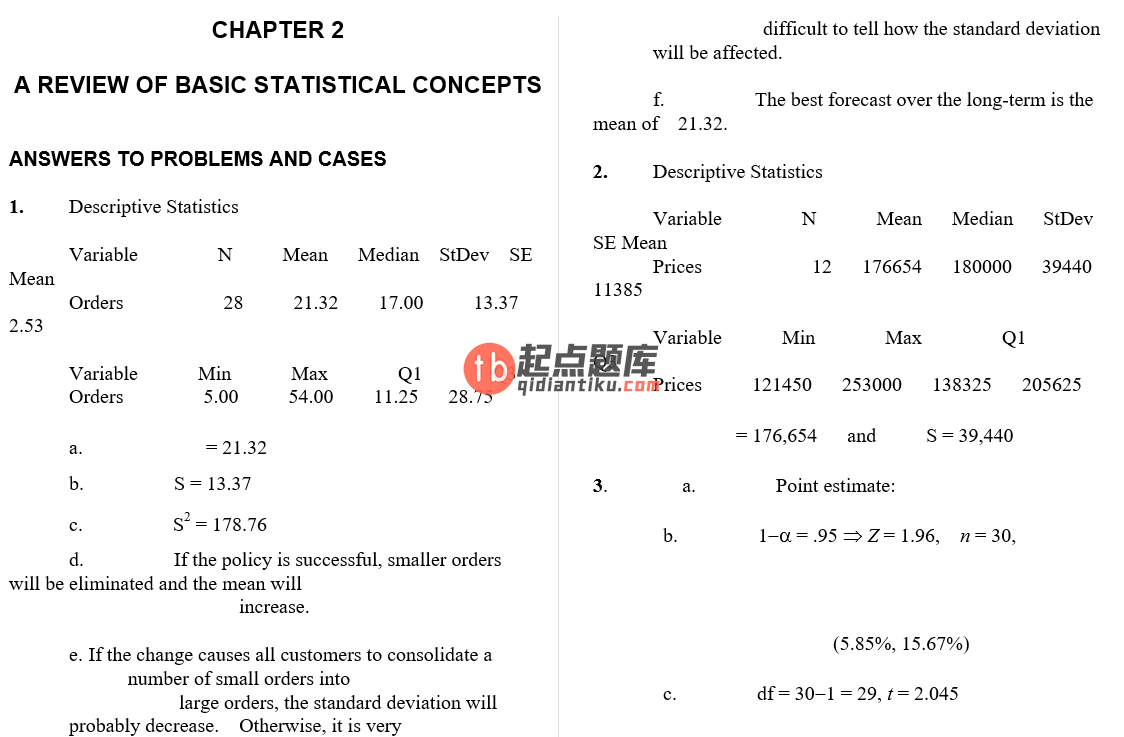 solution manual for Business Forecasting 9th Edition的图片 3