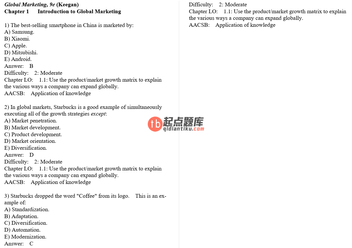 test bank for Global Marketing 9th Global Edition的图片 3