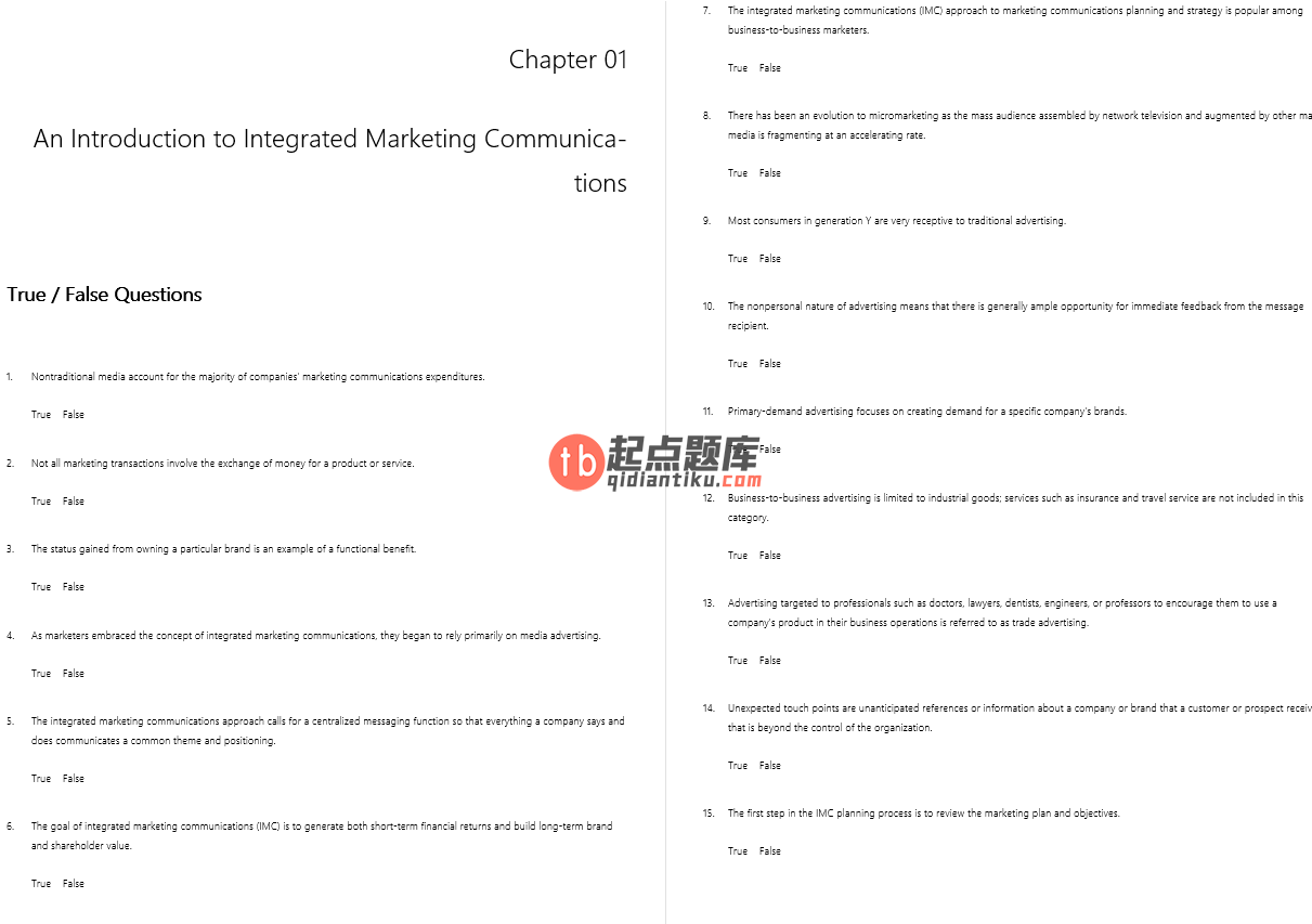 test bank for Advertising and Promotion: An Integrated Marketing Communications Perspective 10th Edition的图片 3