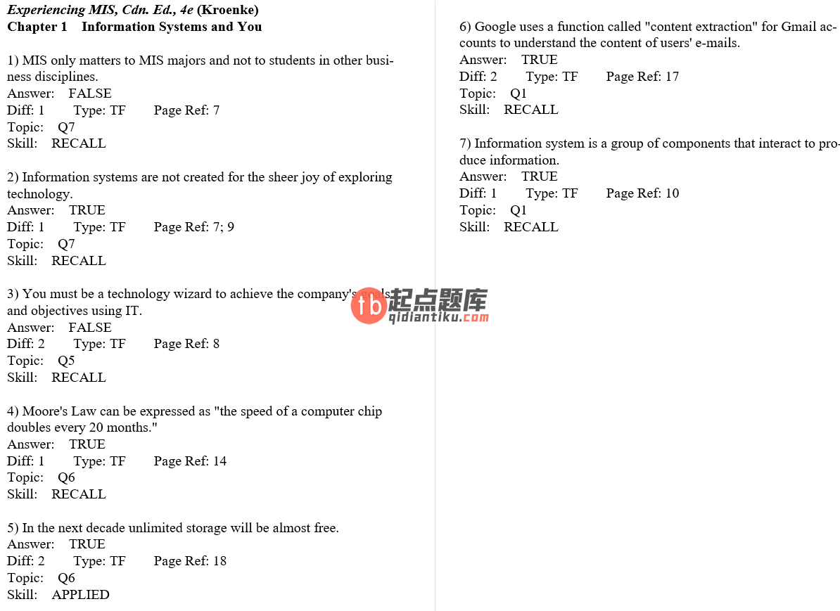 test bank for Experiencing MIS 4th Canadian Edition的图片 3