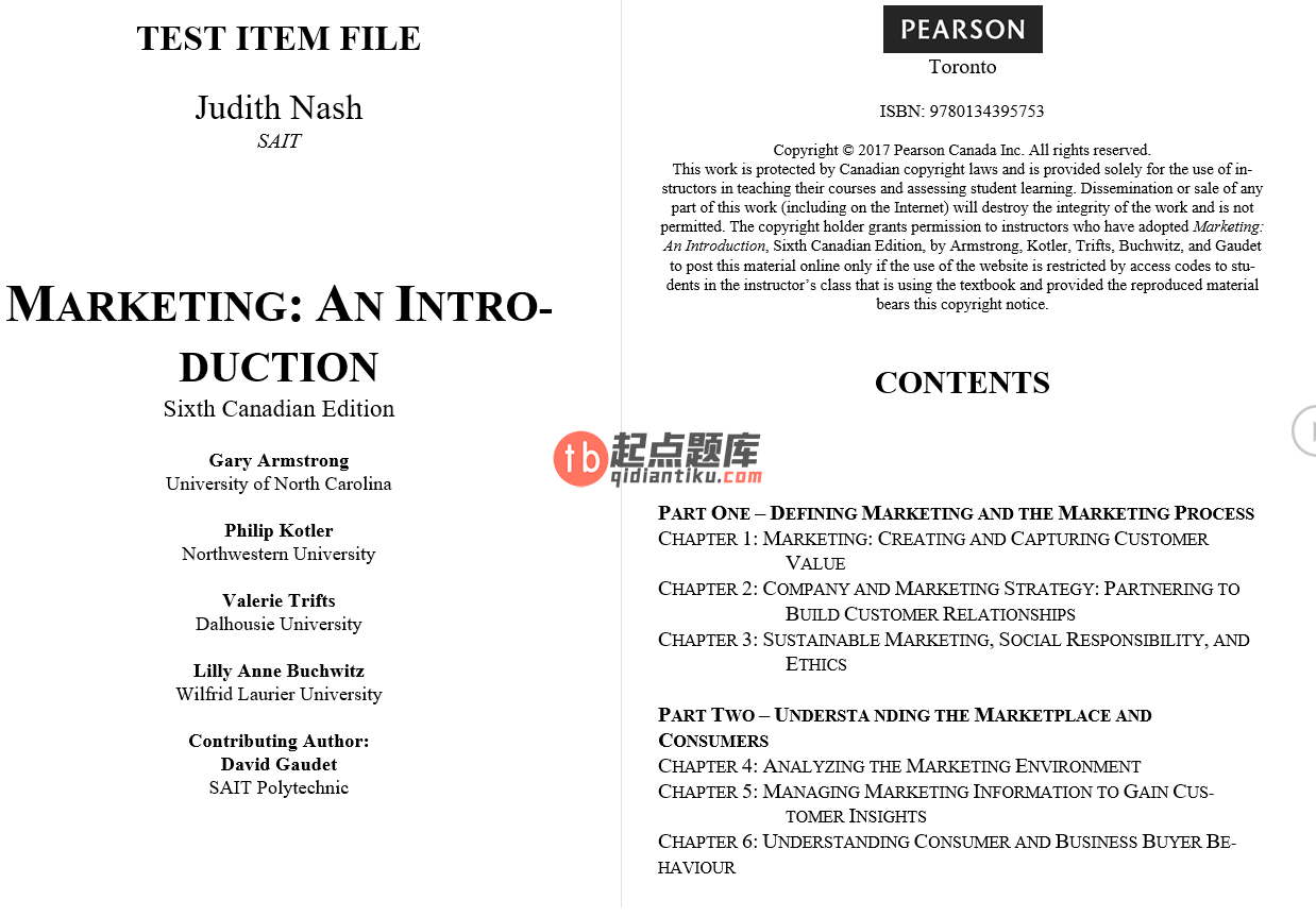 test bank for Marketing: An Introduction 6th Canadian Edition的图片 3