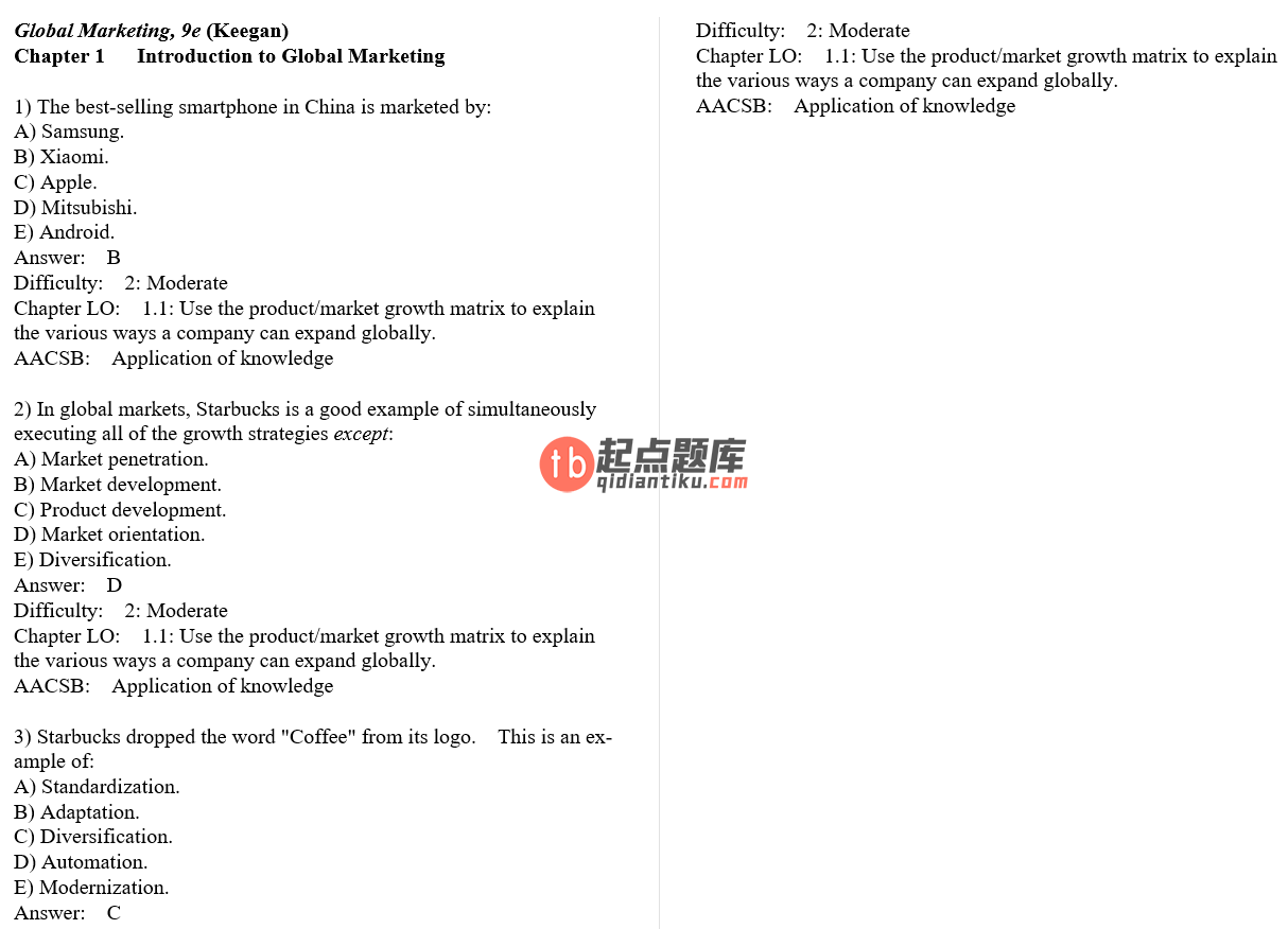 test bank for Global Marketing 9th Edition的图片 3
