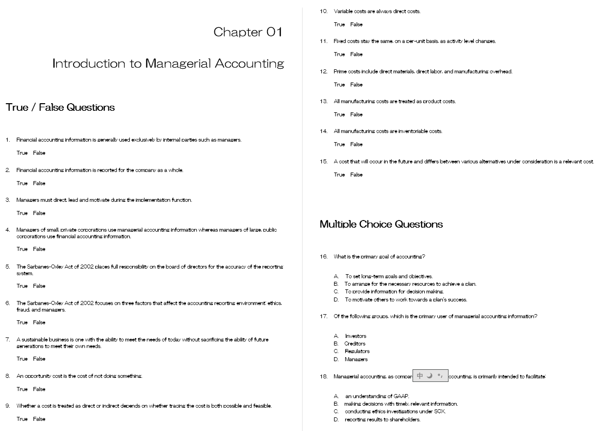 test bank for Managerial Accounting 3rd Edition的图片 3