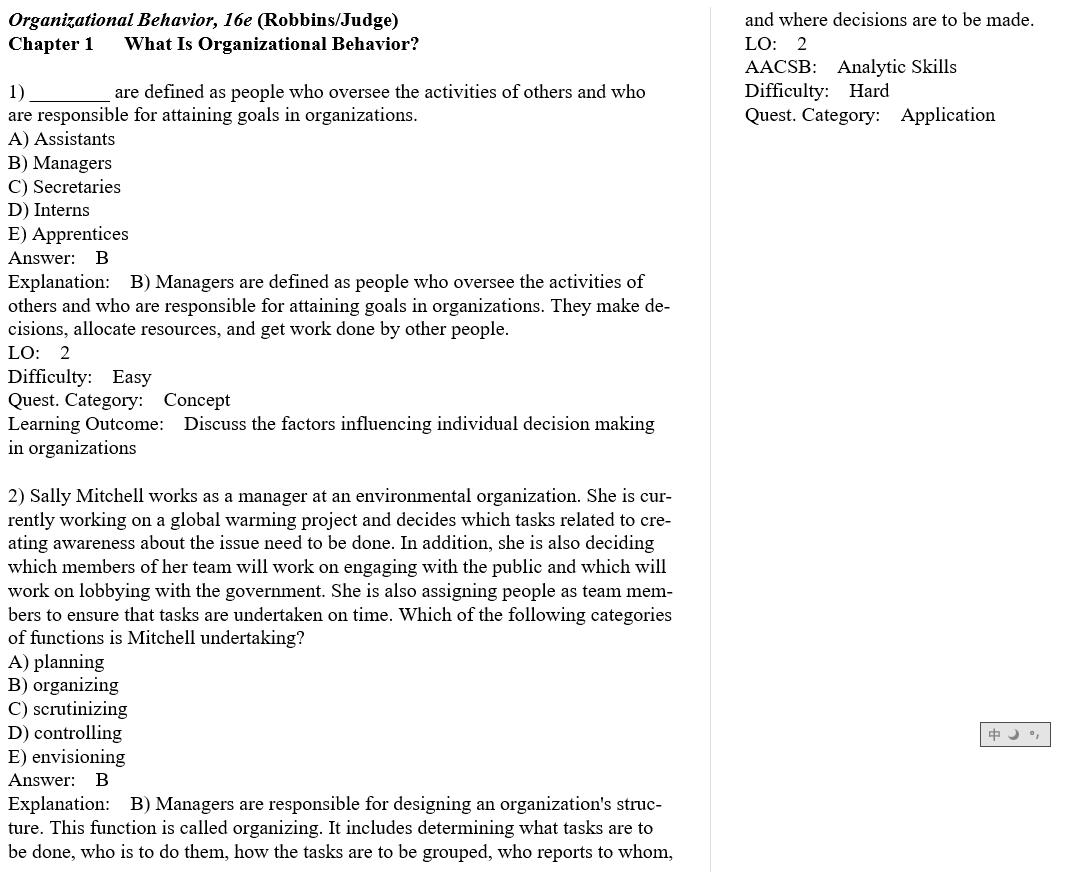 test bank for Organizational Behavior 16th Edition的图片 3