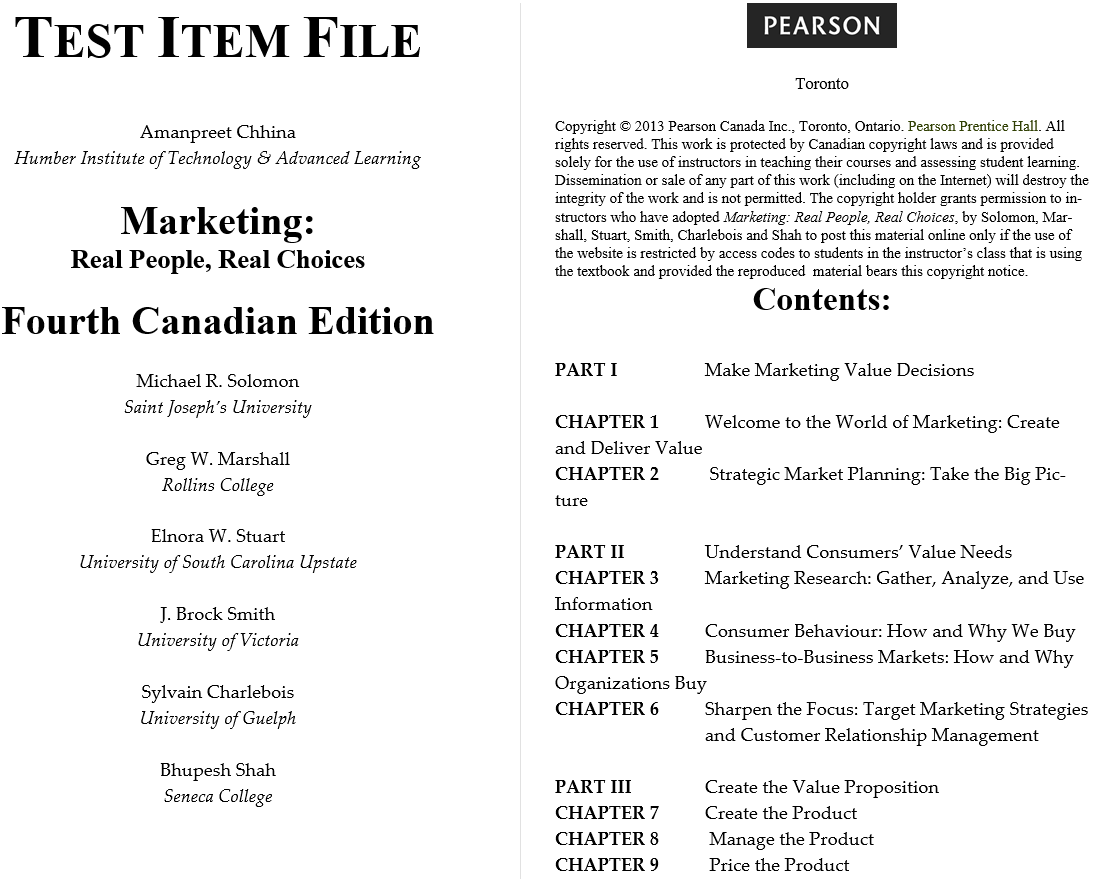 test bank for Marketing: Real People, Real Choices, 4th Canadian Edition的图片 3