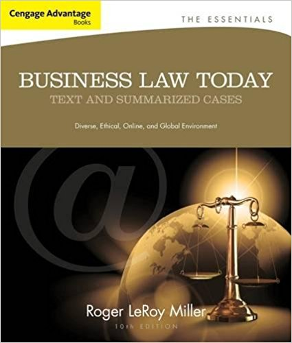 solution manual for Business Law Today The Essentials: Text and Summarized Cases 10th Edition的图片 1