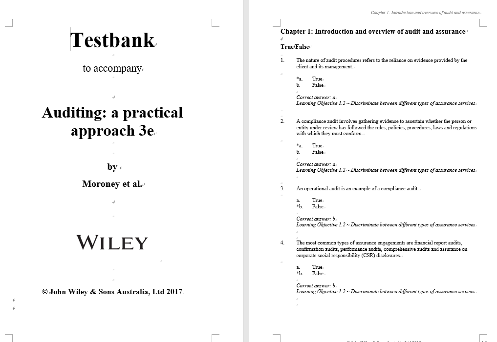 test bank for Auditing: A Practical Approach 3rd Edition的图片 3