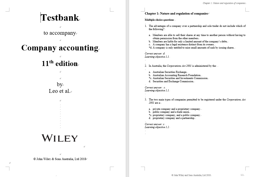 test bank for Company Accounting 11th Edition的图片 3
