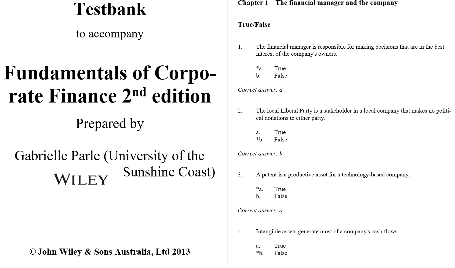 test bank for Fundamentals of Corporate Finance Australasian 2nd edition的图片 3