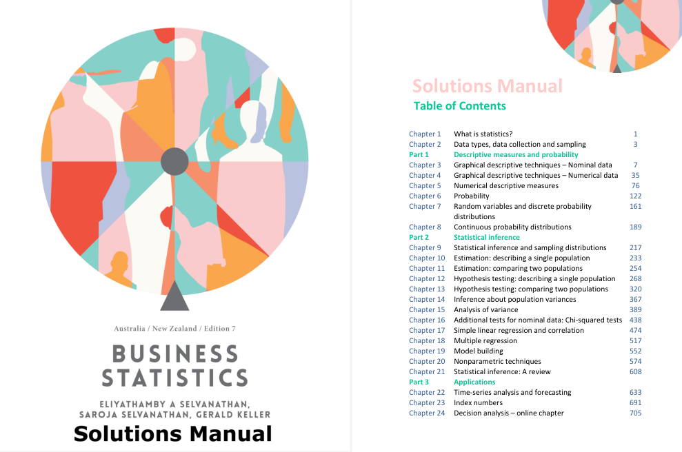 solution manual for Business Statistics Australia New Zealand 7th Edition的图片 2
