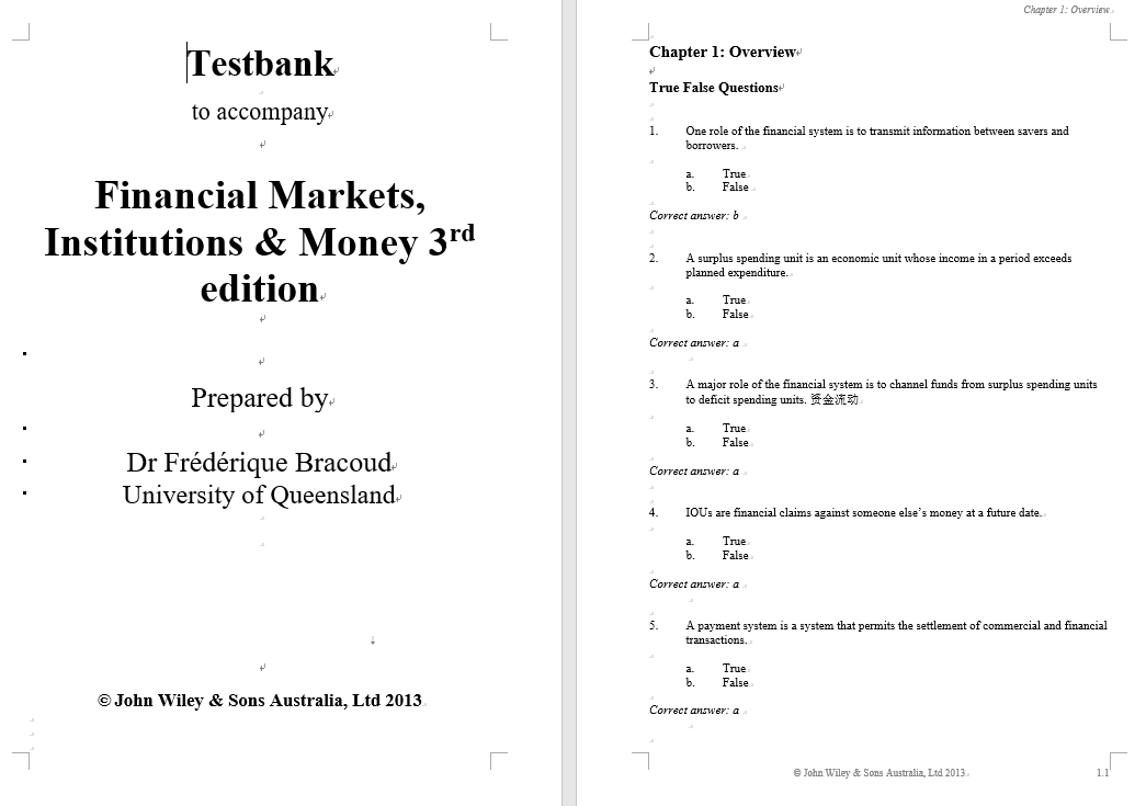 test bank for Financial Markets Institutions and Money 3rd Edition的图片 3
