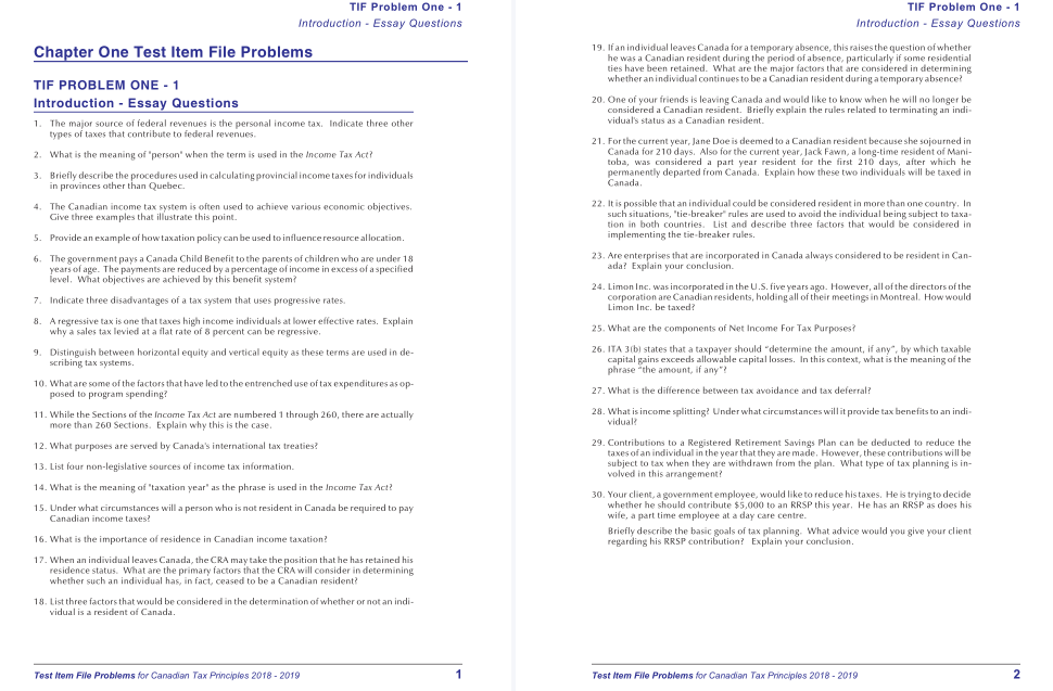 test bank for Byrd & Chen's Canadian Tax Principles 2018-2019 Edition的图片 3