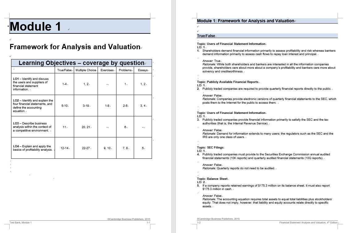 test bank for Financial Statement Analysis and Valuation 4th Edition的图片 3