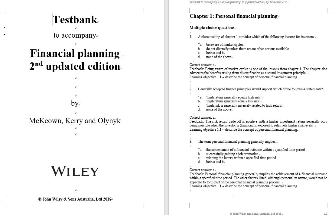 test bank for Financial Planning 2nd Update Edition by Warren McKeown的图片 3