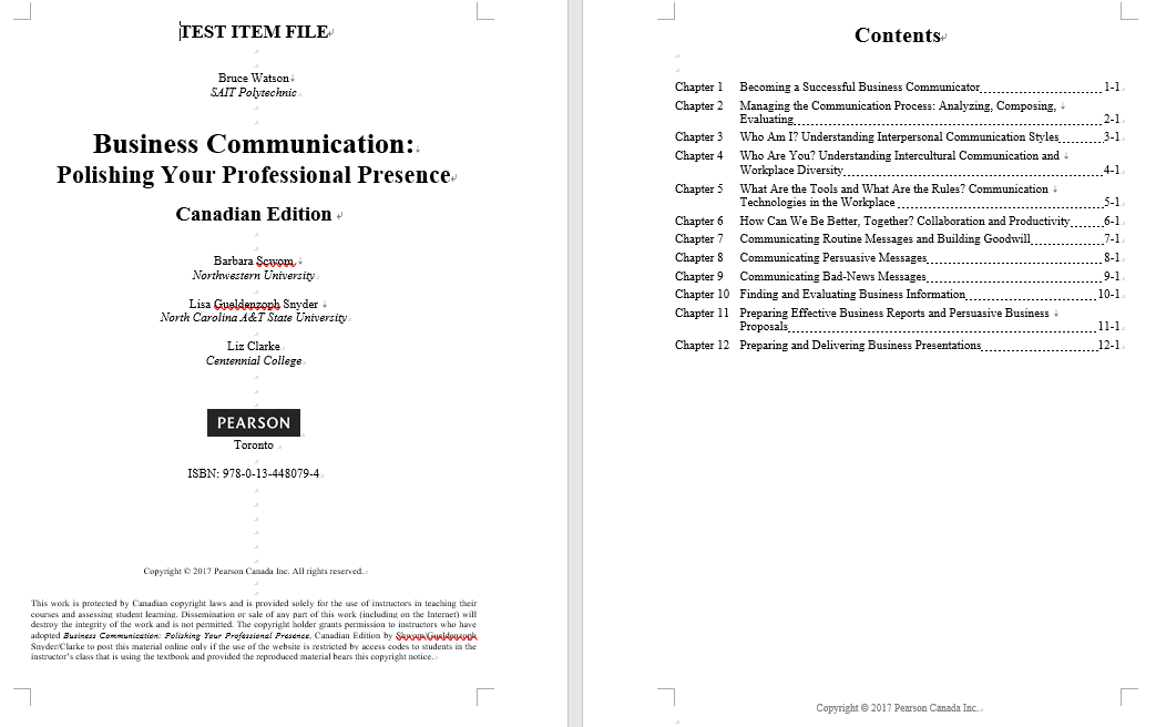 test bank for Business Communication: Polishing Your Professional Presence 1st Canadian Edition的图片 3