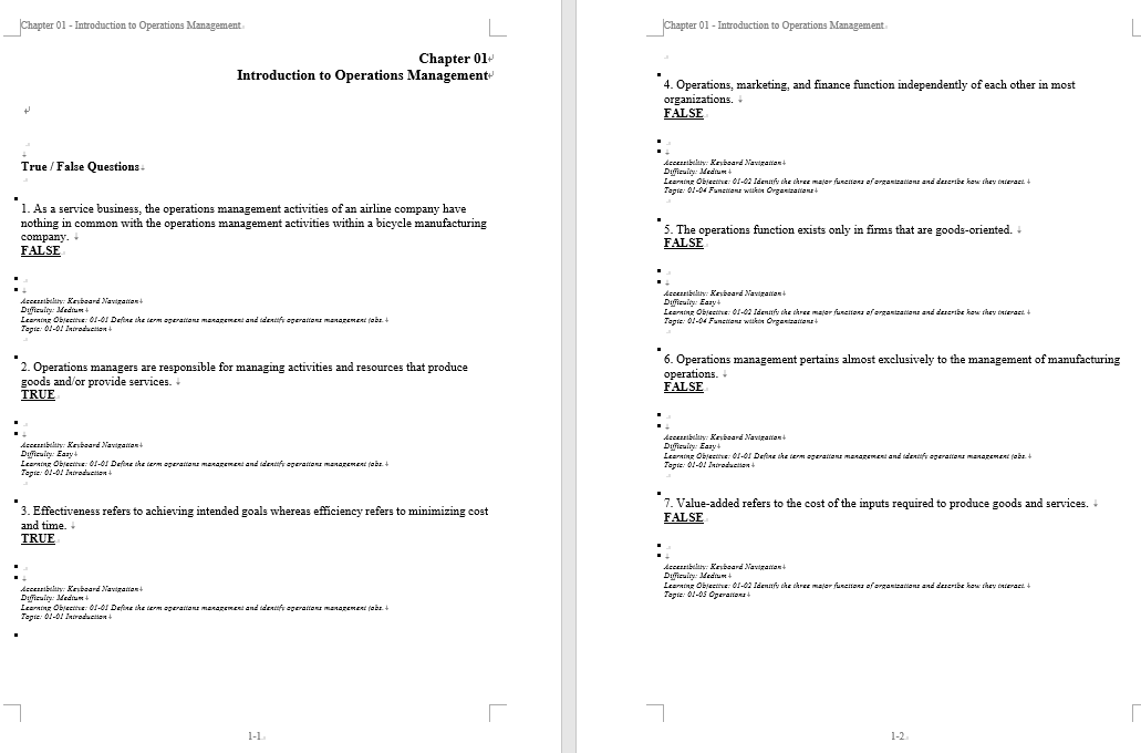 test bank for Operations Management Stevenson 6th Canadian Edition的图片 3