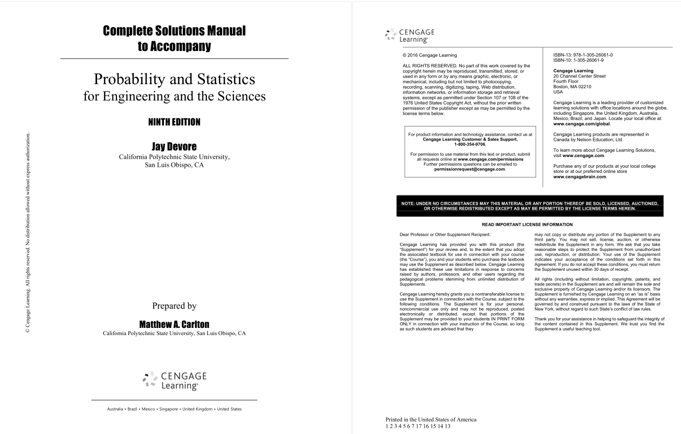 solution manual for Probability and Statistics for Engineering and the Sciences 9th Edition的图片 2