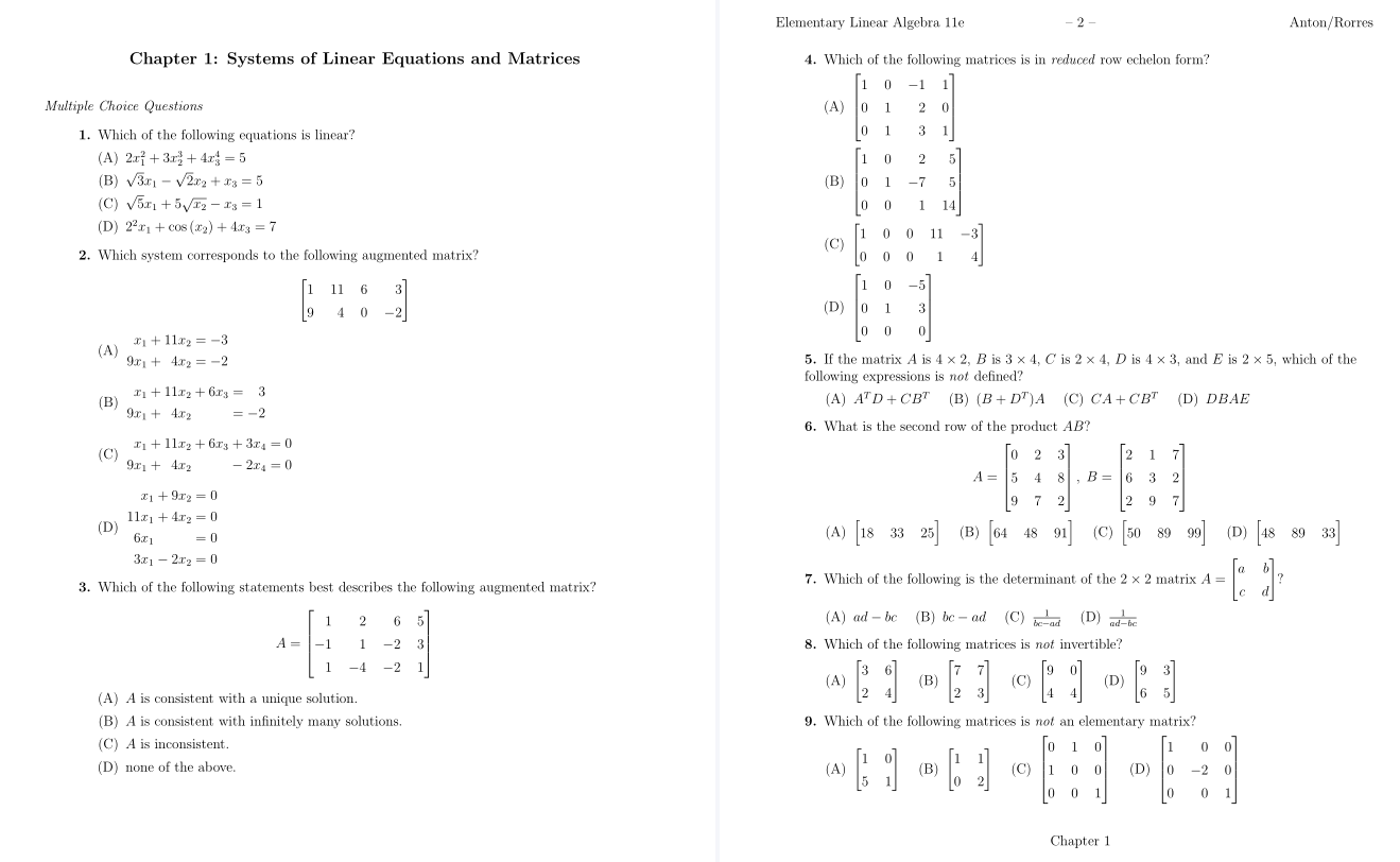 test bank for Elementary Linear Algebra: Applications Version, 11th Edition的图片 3