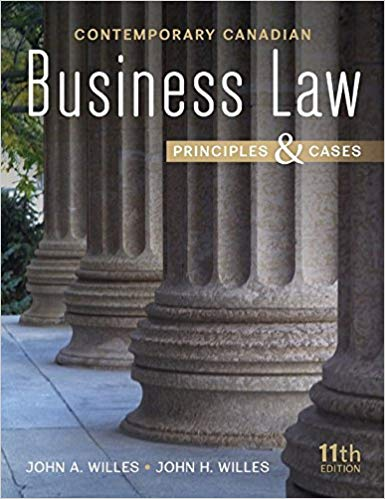 test bank for Contemporary Canadian Business Law 11th Edition by John A Willes的图片 1