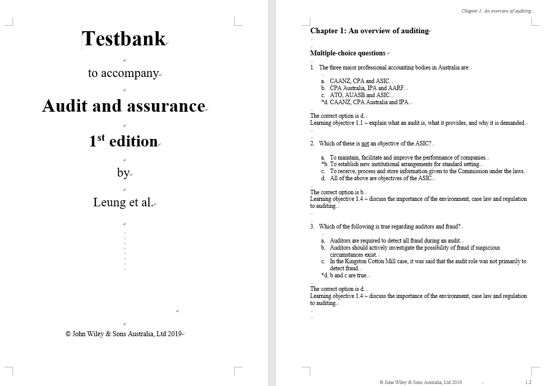 test bank for Audit and Assurance Services by Philomena Leung的图片 3