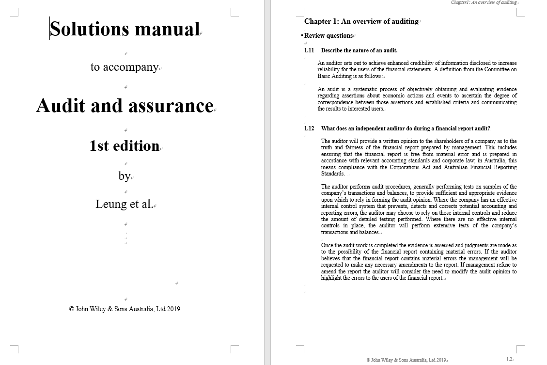 solution manual for Audit and Assurance Services by Philomena Leung的图片 3