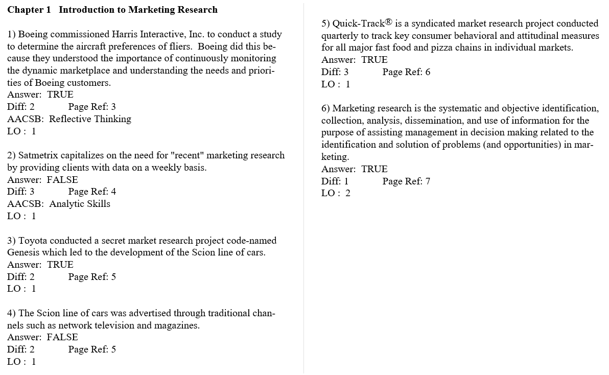 test bank for Marketing Research: An Applied Orientation 6th Global Edition的图片 3