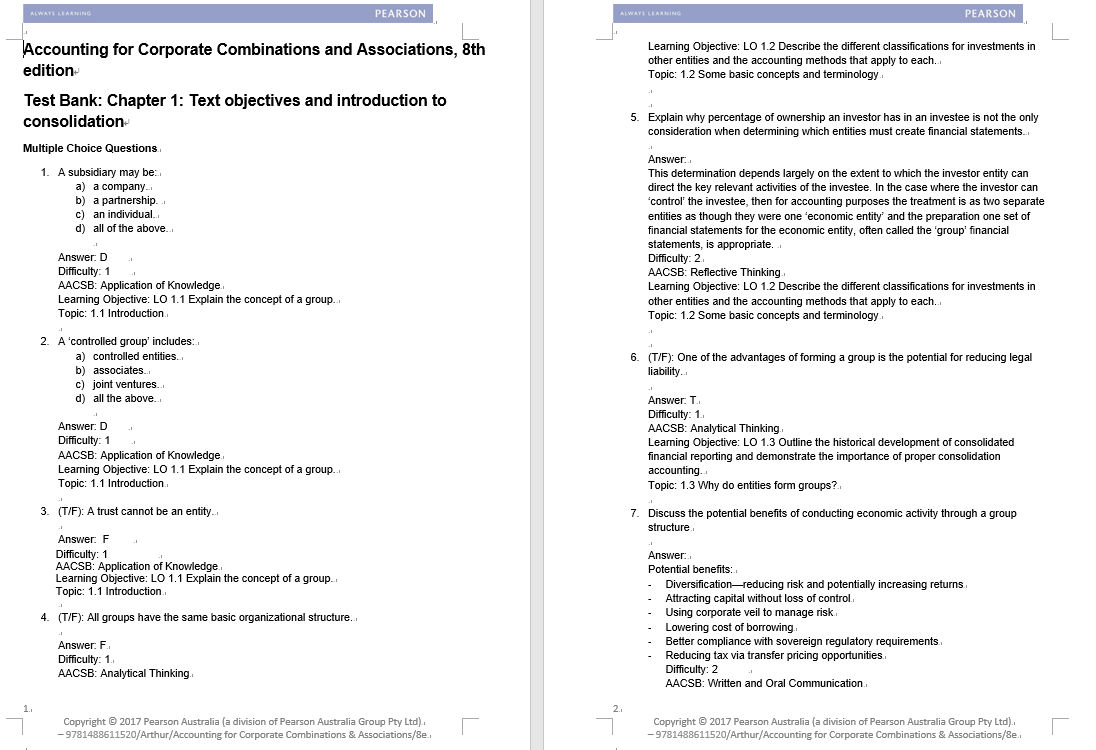 test bank for Accounting for Corporate Combinations and Associations 8th edition的图片 3
