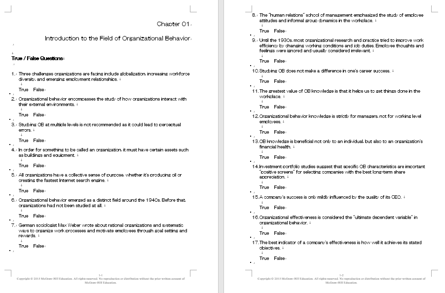 test bank for Organizational Behavior 7th Edition by McShane Glinow的图片 3