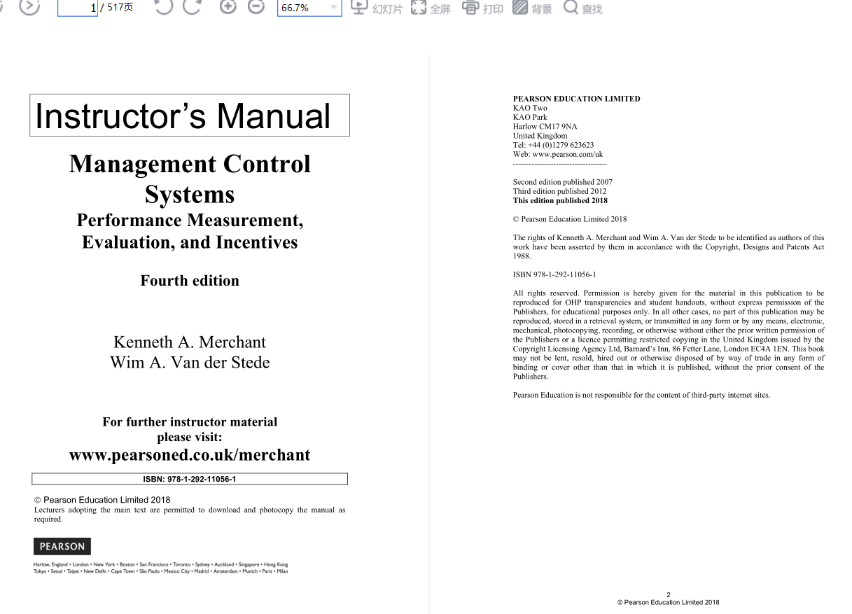 solution manual for Management Control Systems 4th Edition by Kenneth Merchant的图片 2