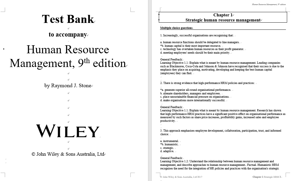 test bank for Human Resource Management 9th Edition by Raymond J. Stone的图片 3