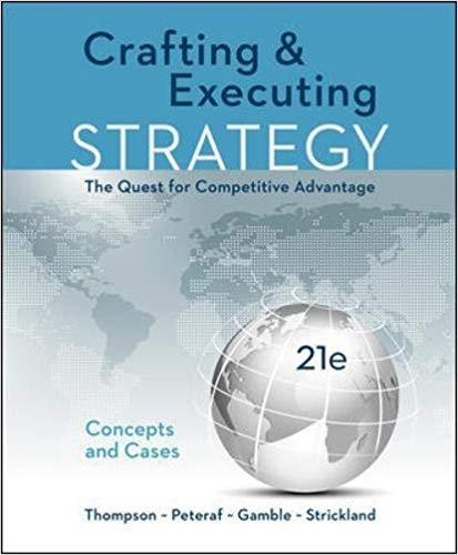test bank for Crafting & Executing Strategy: The Quest for Competitive Advantage: Concepts and Cases 21st Edition