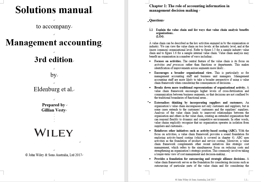 solution manual for Management Accounting 3rd Edition by Leslie G. Eldenburg的图片 3