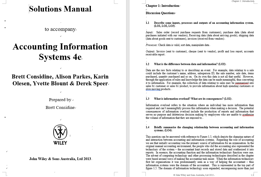 Solution Manual for Accounting Information Systems: Understanding Business Processes 4th Edition Brett Considine的图片 3