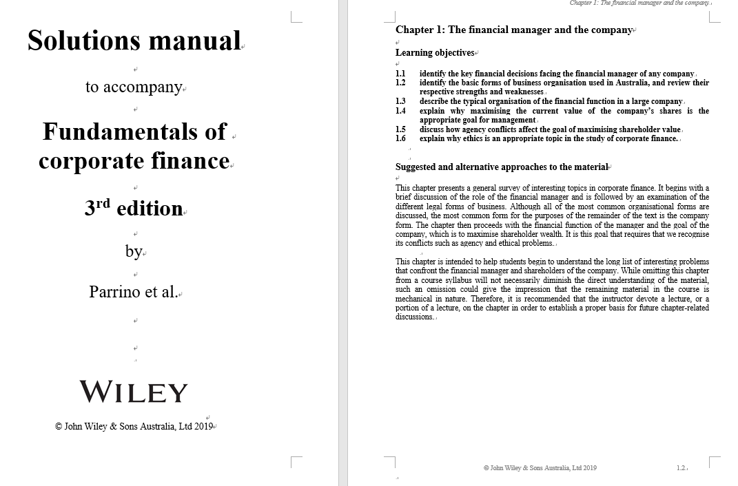 solution manual for Fundamentals of Corporate Finance 3rd Australian Edition by Parrino的图片 3