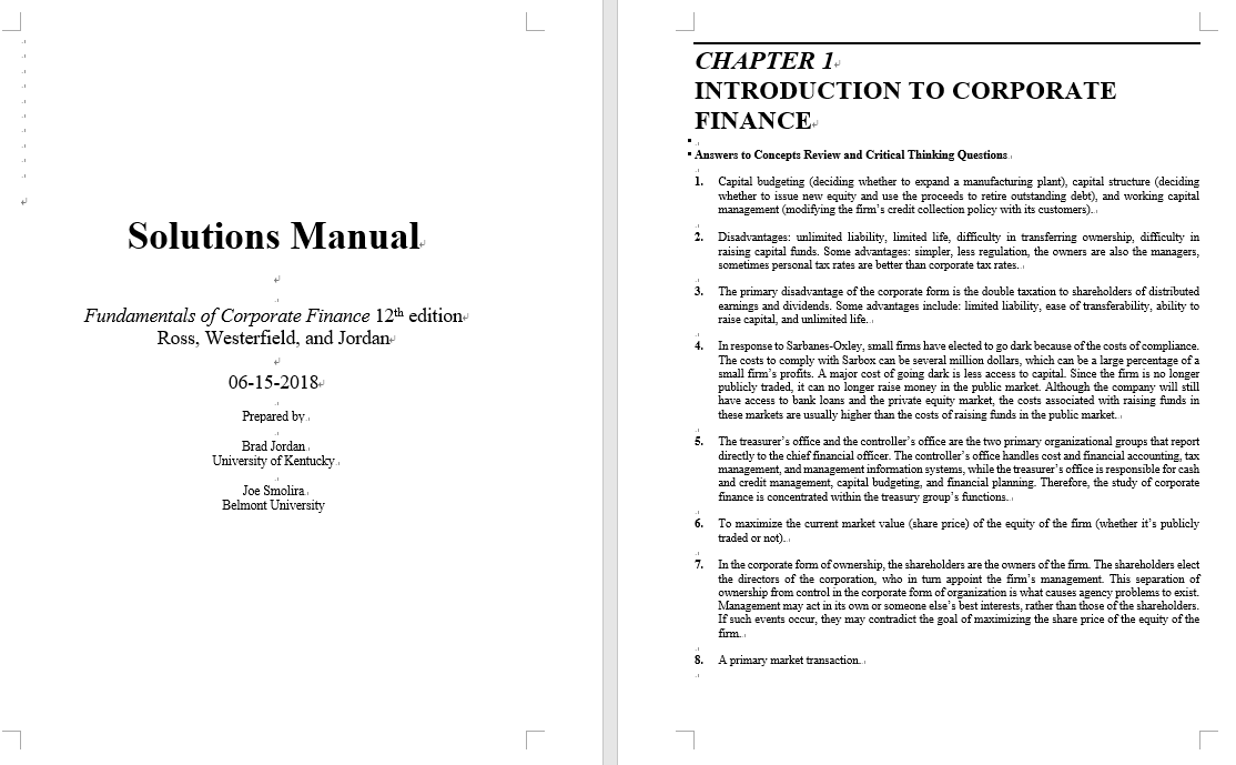 solution manual for Fundamentals of Corporate Finance 12th Edition by Ross Westerfield的图片 3