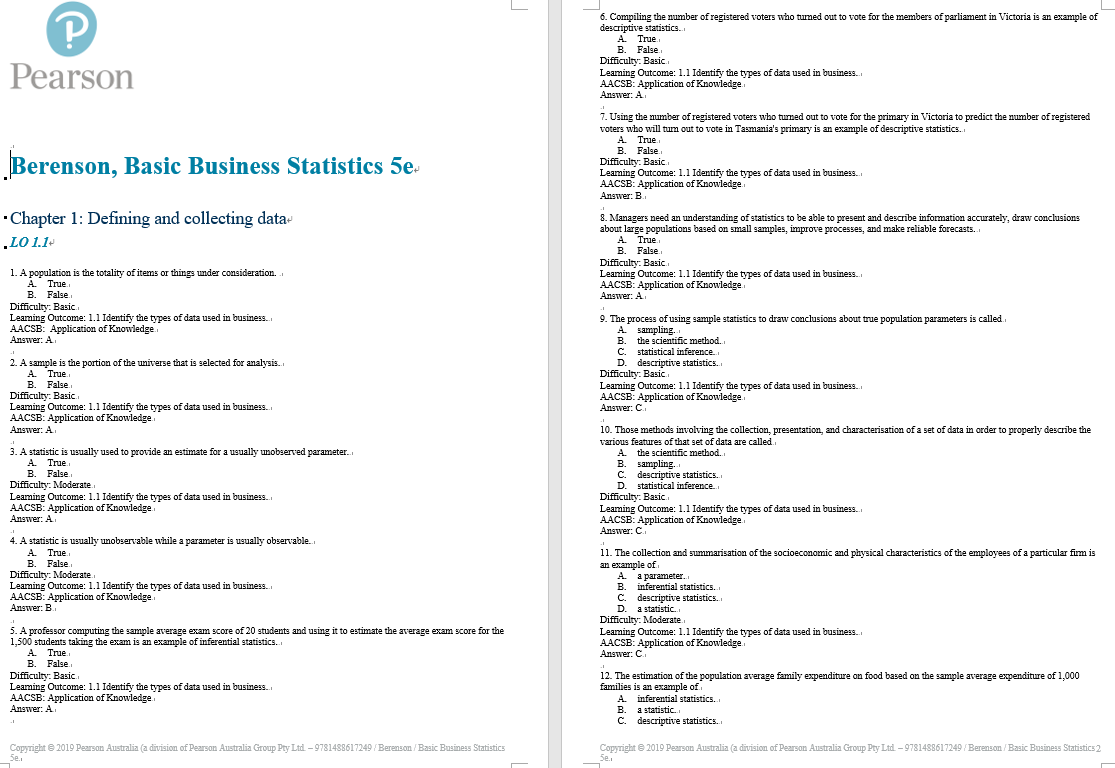 test bank for Basic Business Statistics 5th Australia Edition by Mark Berenson的图片 3