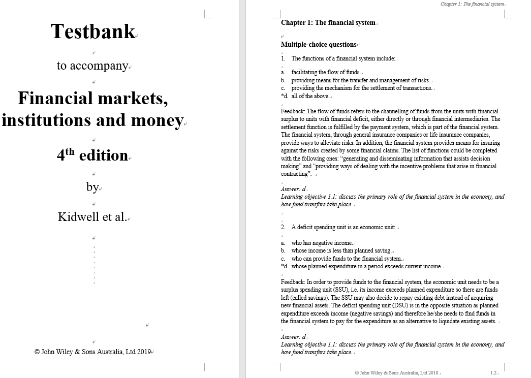 test bank for Financial Markets, Institutions and Money 4th Edition by David S. Kidwell的图片 3