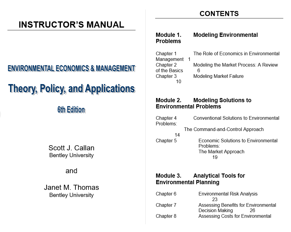 Solution manual for Environmental Economics and Management: Theory, Policy and Applications 6th Edition by Scott J Callan的图片 2