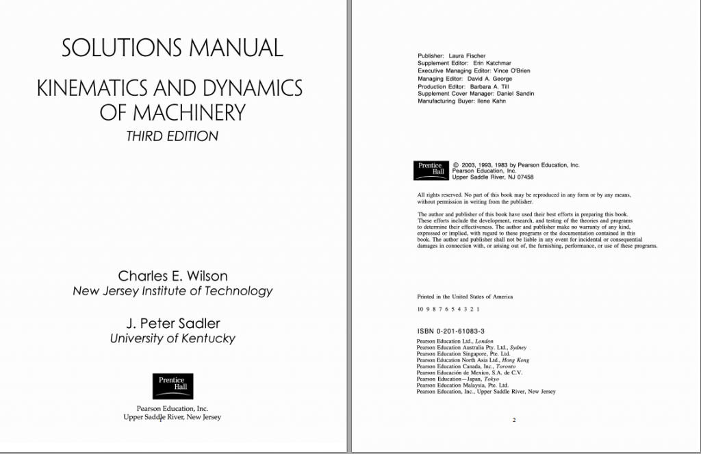 solution manual for Kinematics, Dynamics, and Design of Machinery, 3rd Edition by Kenneth J. Waldron的图片 2